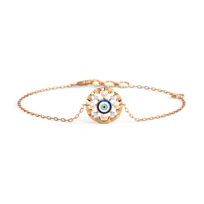 Diamond,Gemstone Bracelets 14 Karat Rose Gold Grandiose Evil Eye Gemstone Bracelet
