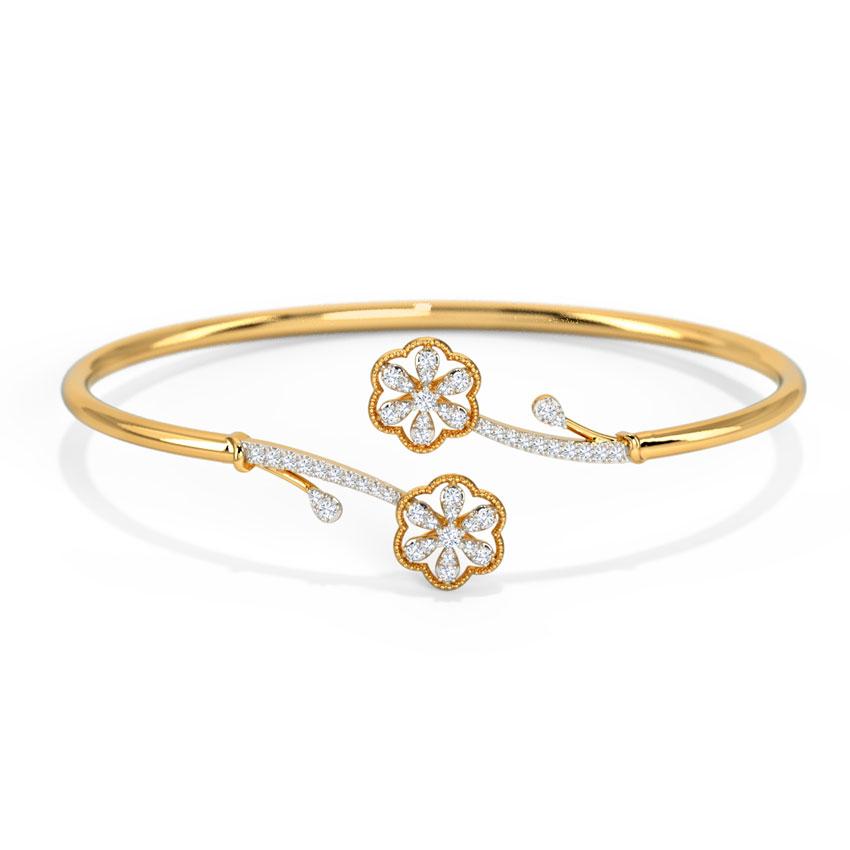 Diamond Bracelets 14 Karat Yellow Gold Ardena Floret Diamond Bracelet
