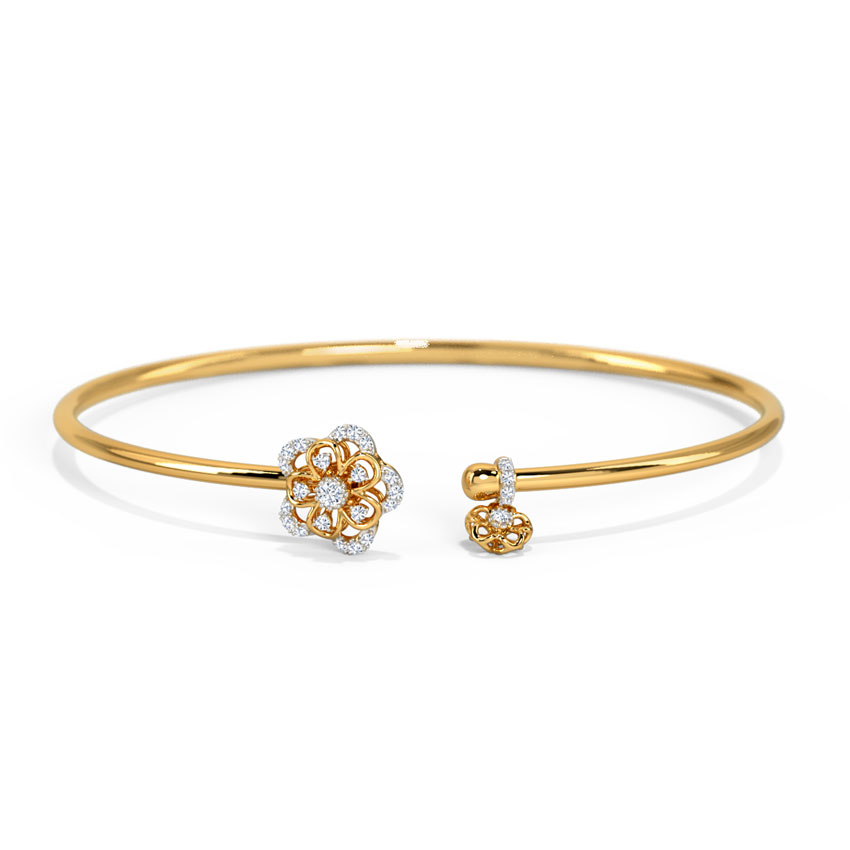 Diamond Bracelets 14 Karat Yellow Gold Amahira Spring Diamond Bracelet