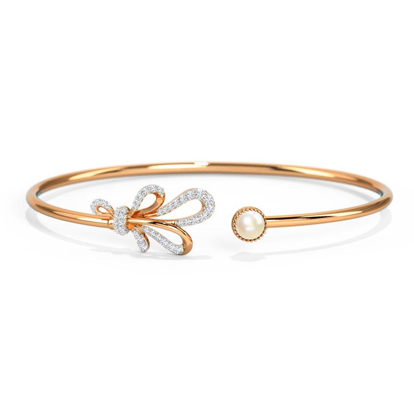 Diamond,Gemstone Bracelets 14 Karat Rose Gold Ribbon Knot Gemstone Bracelet