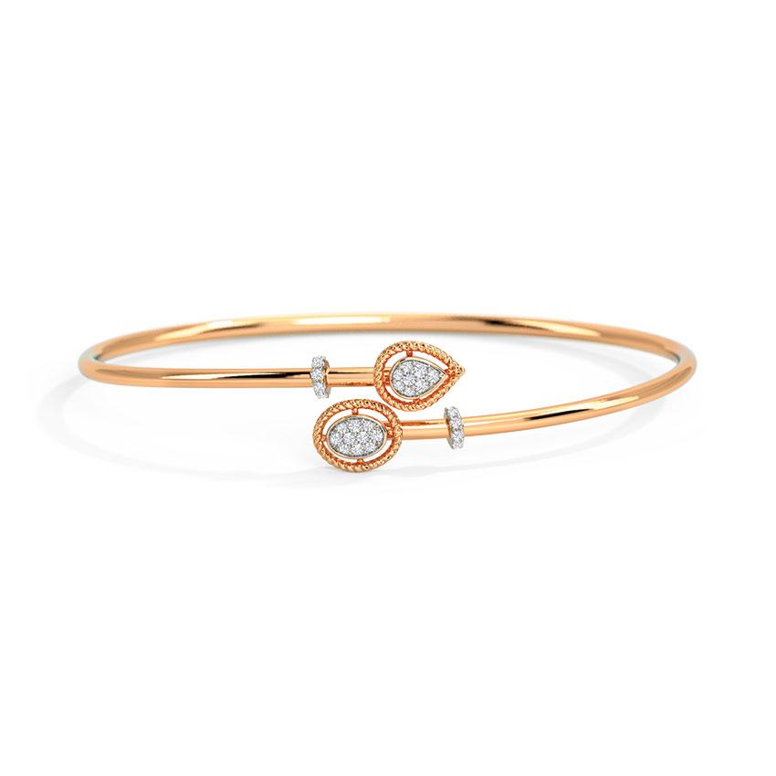 Diamond Bracelets 14 Karat Rose Gold Pebble Drops Diamond Bracelet