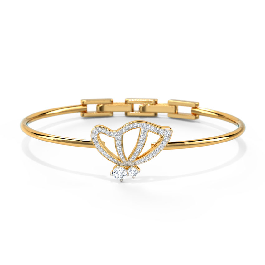 Diamond,Gemstone Bracelets 18 Karat Yellow Gold Butterfly Bracelet by Francesa