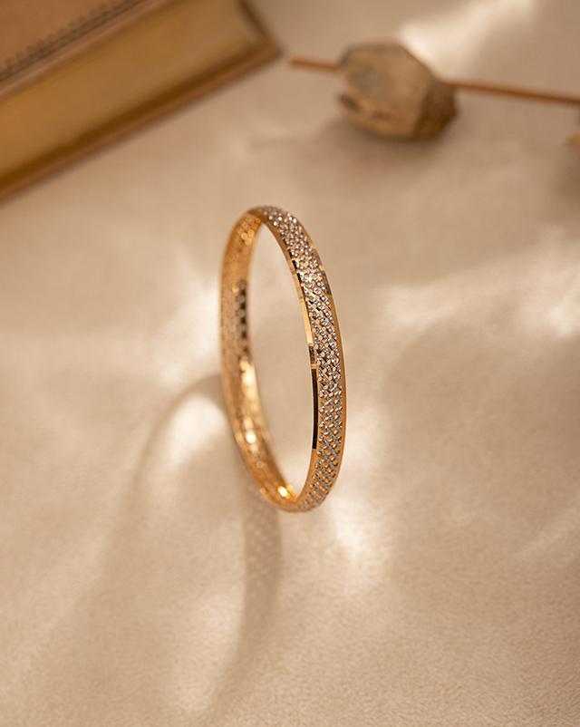 Gold Bangles 22 Karat Yellow Gold Modish Lattice 22Kt Gold Bangle