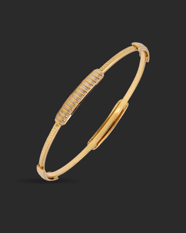 Gold Bangles 22 Karat Yellow Gold Linear Groove 22Kt Gold Bangle