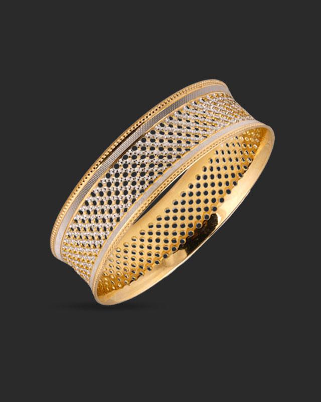 Gold Bangles 22 Karat Yellow Gold Lattice Mesh Gold Bangle