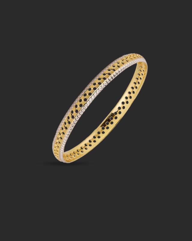 Gold Bangles 22 Karat Yellow Gold Cutout Gold Bangle
