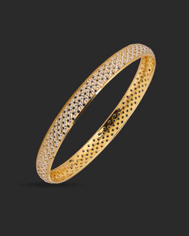 Gold Bangles 22 Karat Yellow Gold Edgy Lattice Gold Bangle