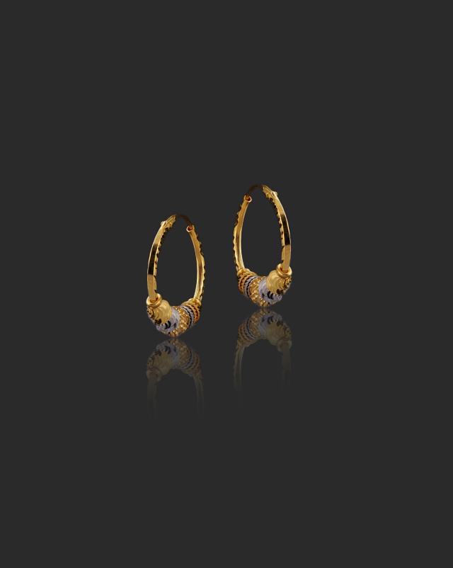 Gold Earrings 22 Karat Yellow Gold Sonam 22Kt Gold Hoop Earrings