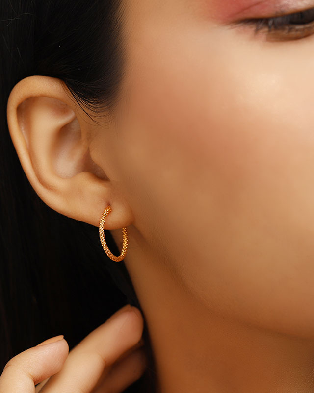 Gold Earrings 22 Karat Yellow Gold Arohi 22Kt Gold Hoop Earrings
