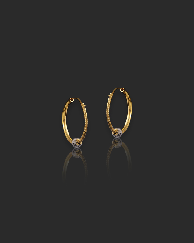 Gold Earrings 22 Karat Yellow Gold Bhumi 22Kt Gold Hoop Earrings