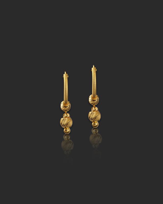 Gold Earrings 22 Karat Yellow Gold Aarvi 22Kt Gold Hoop Earrings
