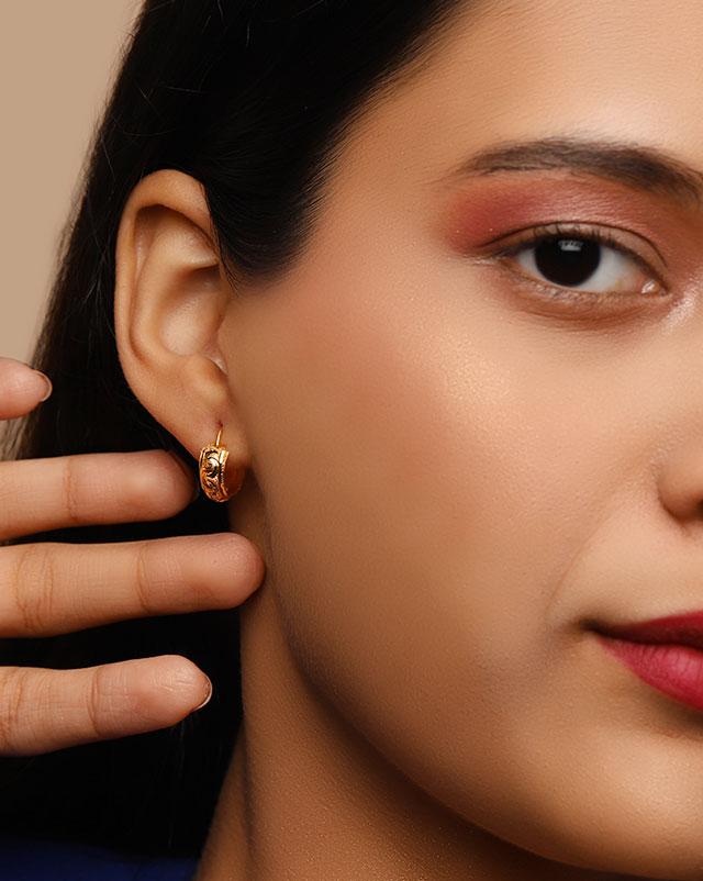 Gold Earrings 22 Karat Yellow Gold Harita 22Kt Gold Hoop Earrings