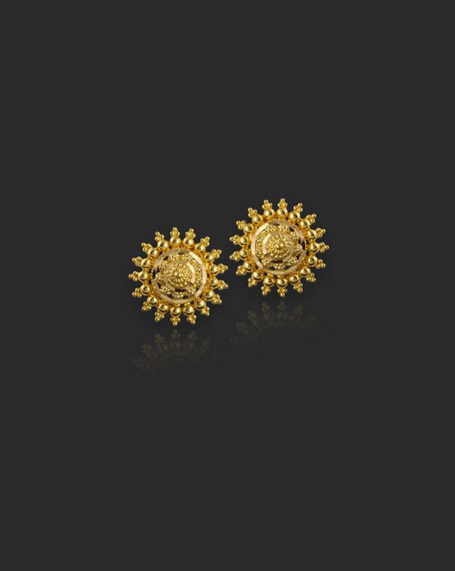 Gold Earrings 22 Karat Yellow Gold Leena 22Kt Gold Stud Earrings