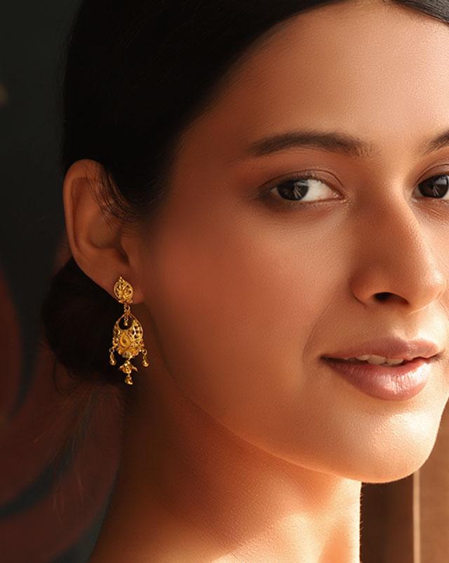 Meeta 22Kt Gold Drop Earrings
