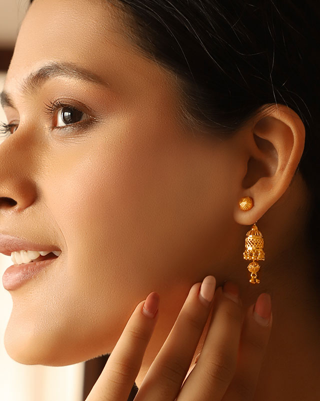 Gold Earrings 22 Karat Yellow Gold Debra 22Kt Gold Jhumkas