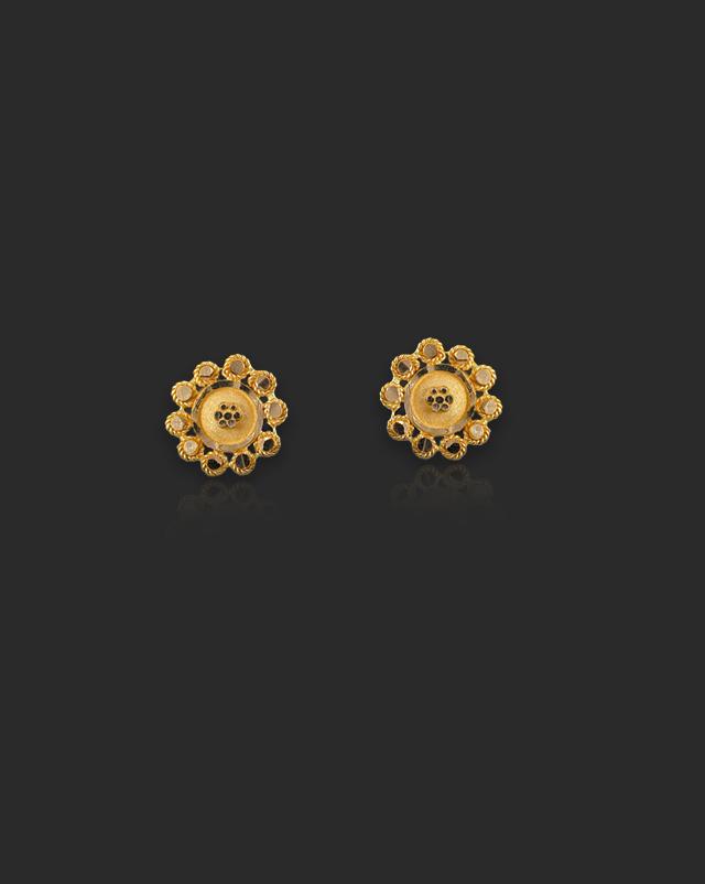 Gold Earrings 22 Karat Yellow Gold Charu 22Kt Gold Stud Earrings