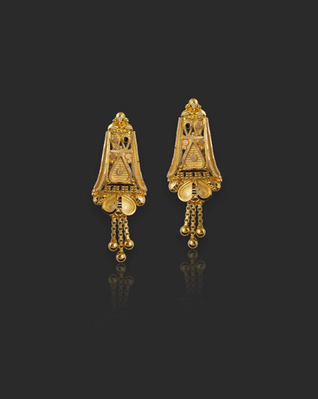 Gold Earrings 22 Karat Yellow Gold Alifa 22Kt Gold Drop Earrings