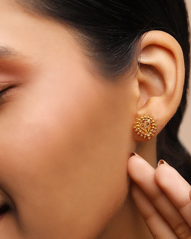 Gold Earrings 22 Karat Yellow Gold Maira 22Kt Gold Stud Earrings