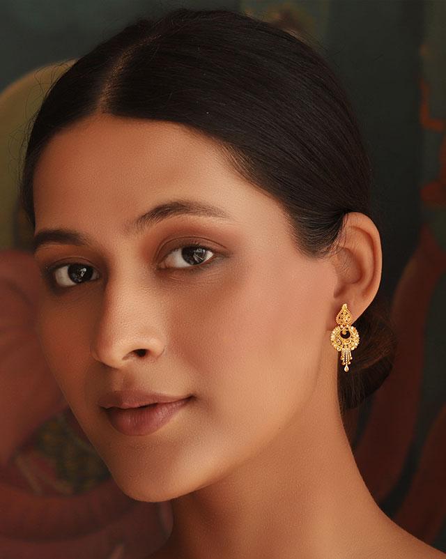 Gold Earrings 22 Karat Yellow Gold Bina 22Kt Gold Drop Earrings