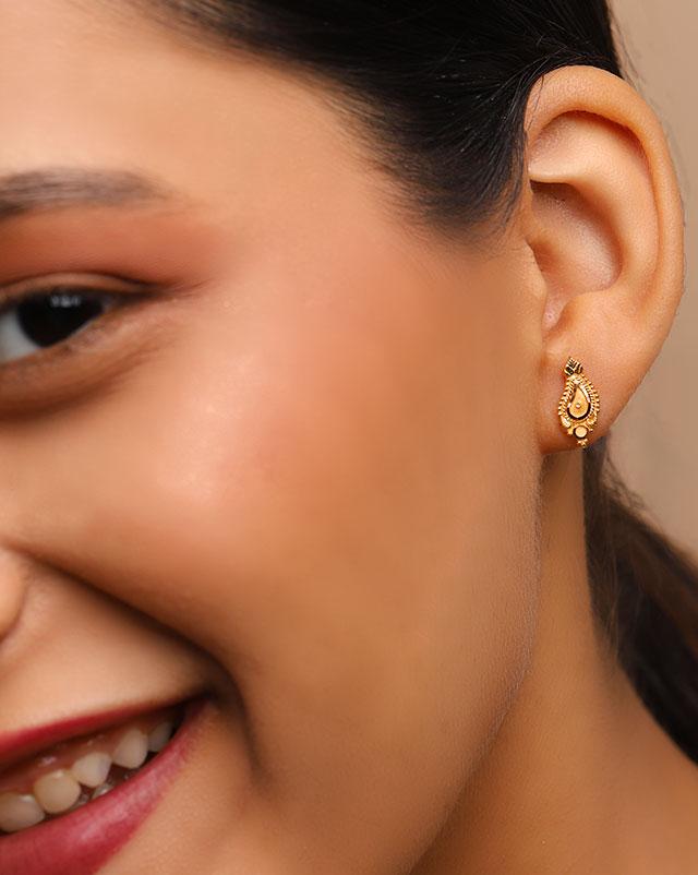 Gold Earrings 22 Karat Yellow Gold Lubna 22Kt Gold Stud Earrings