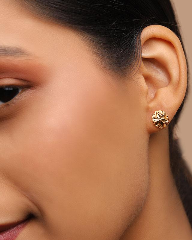 Gold Earrings 22 Karat Yellow Gold Prisha 22Kt Gold Stud Earrings