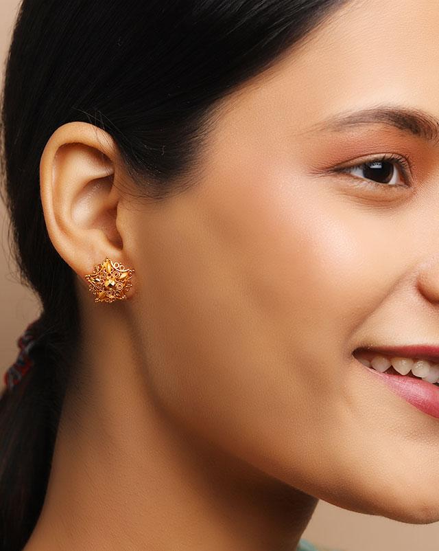Gold Earrings 22 Karat Yellow Gold Zaria 22Kt Gold Stud Earrings