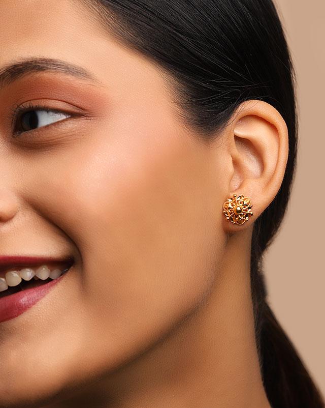 Gold Earrings 22 Karat Yellow Gold Zivah 22Kt Gold Stud Earrings