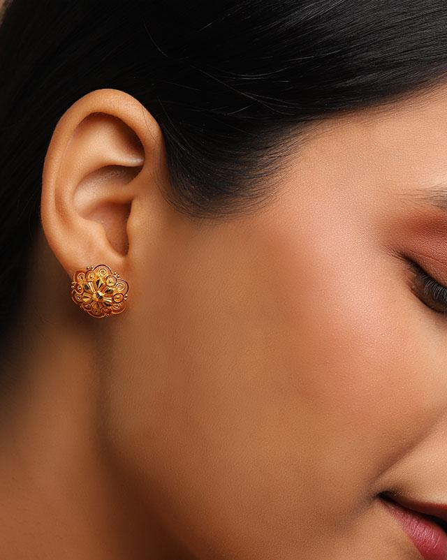 Gold Earrings 22 Karat Yellow Gold Shravya 22Kt Gold Stud Earrings