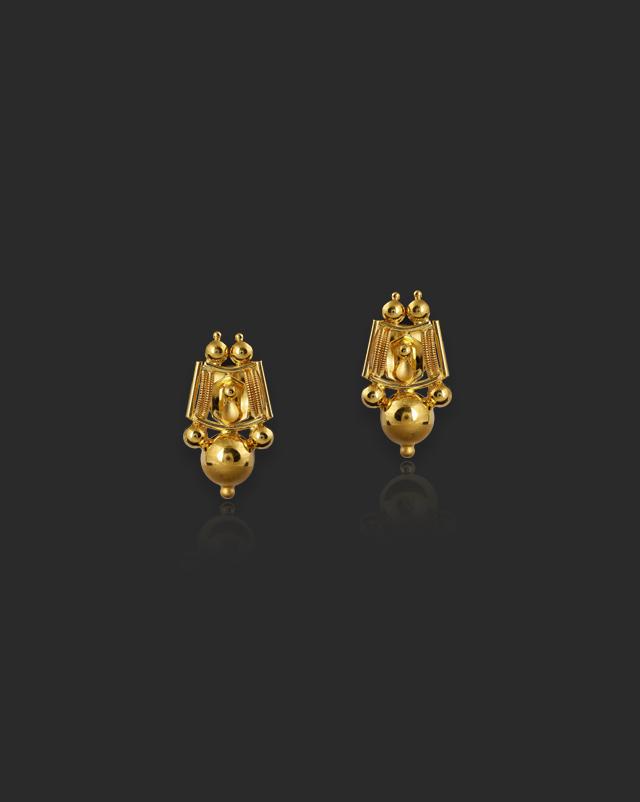 Gold Earrings 22 Karat Yellow Gold Zarina 22Kt Gold Stud Earrings