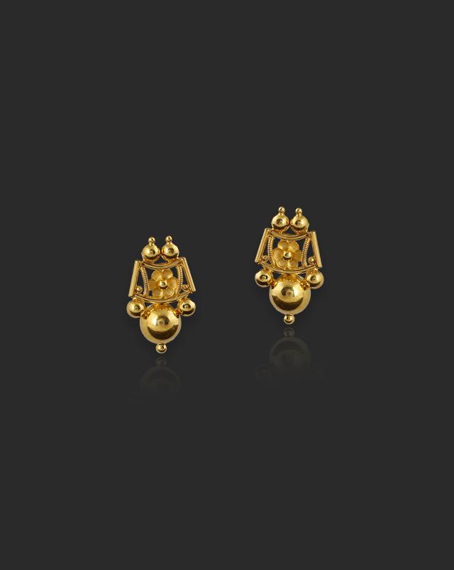 Gold Earrings 22 Karat Yellow Gold Trisha 22Kt Gold Stud Earrings