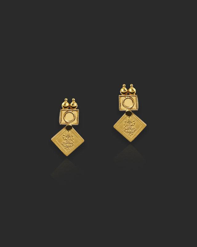 Gold Earrings 22 Karat Yellow Gold Varda 22Kt Gold Drop Earrings