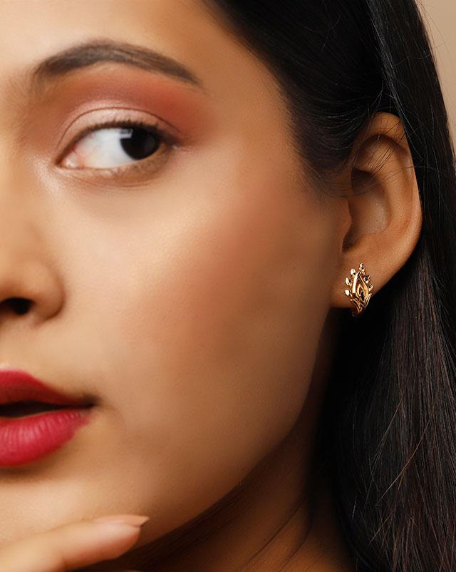 Gold Earrings 22 Karat Yellow Gold Karina 22Kt Gold Hoop Earrings