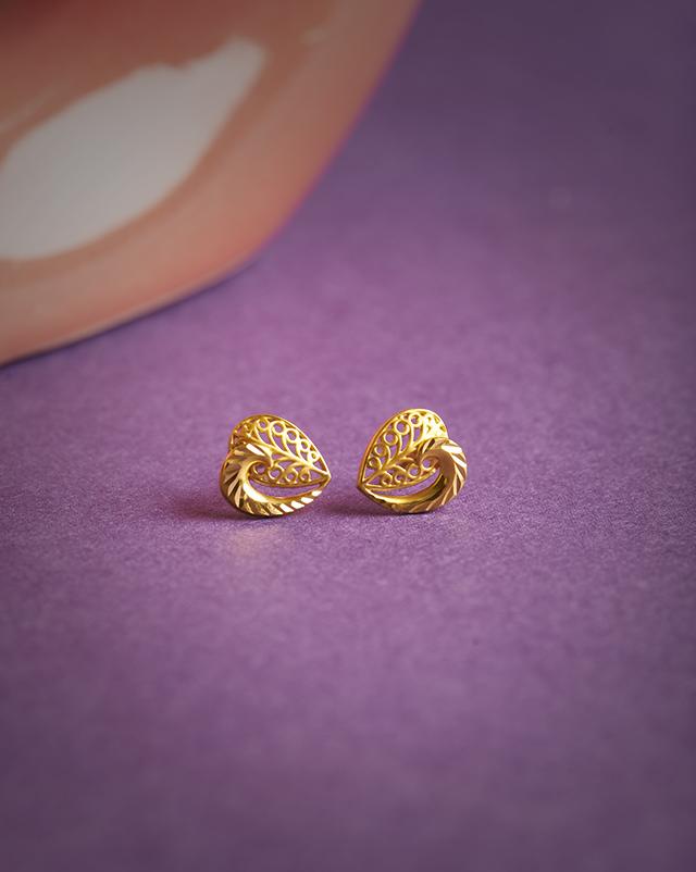 Gold Earrings 22 Karat Yellow Gold Jyoti 22Kt Gold Stud Earrings