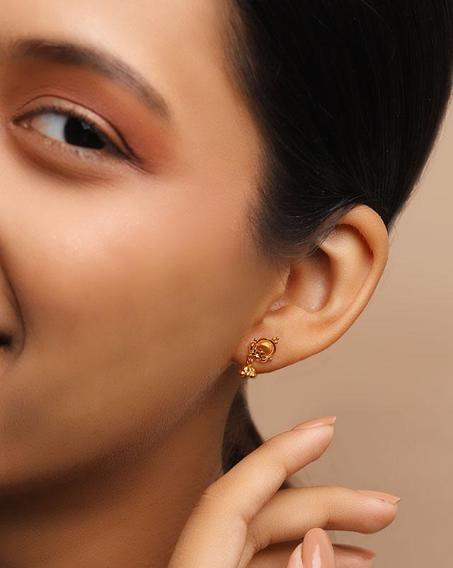 Gold Earrings 22 Karat Yellow Gold Rita 22Kt Gold Drop Earrings
