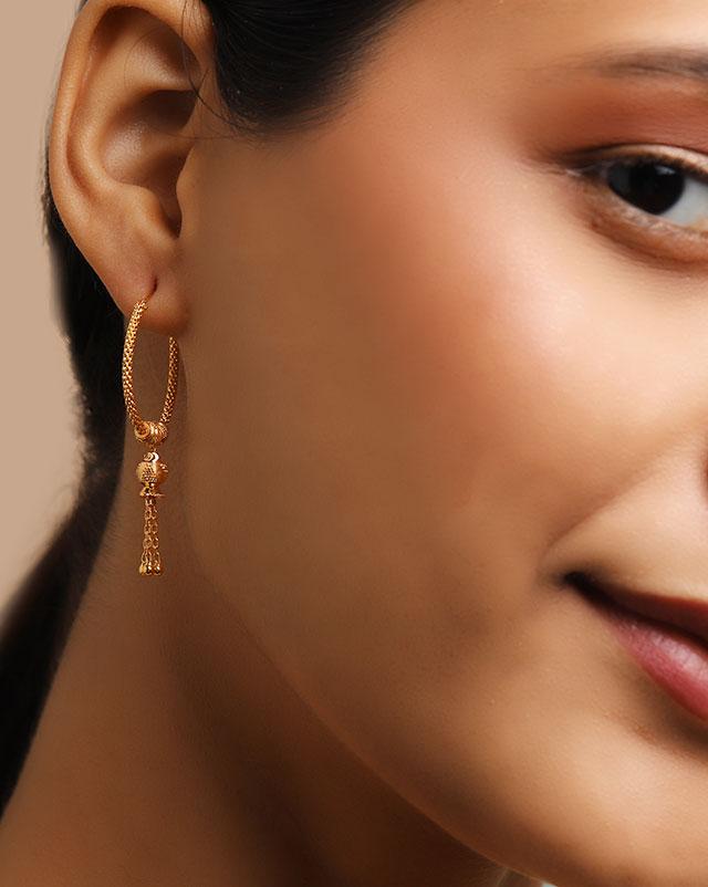Chaavi 22Kt Gold Hoop Earrings