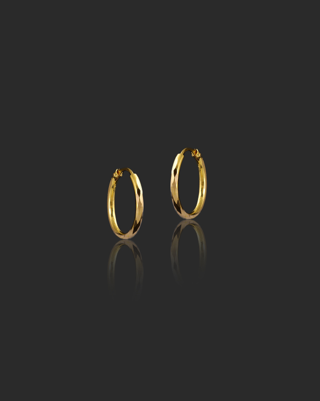 Gold Earrings 22 Karat Yellow Gold Diya 22Kt Gold Hoop Earrings
