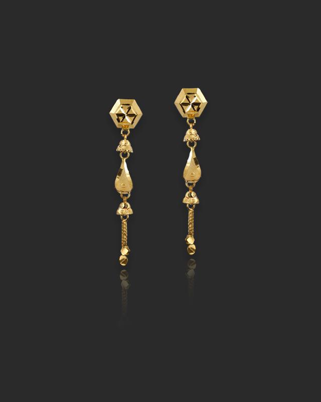 Keya 22Kt Gold Drop Earrings