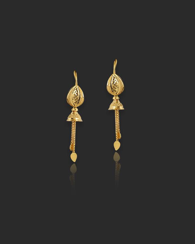 Gold Earrings 22 Karat Yellow Gold Mala 22Kt Gold Drop Earrings