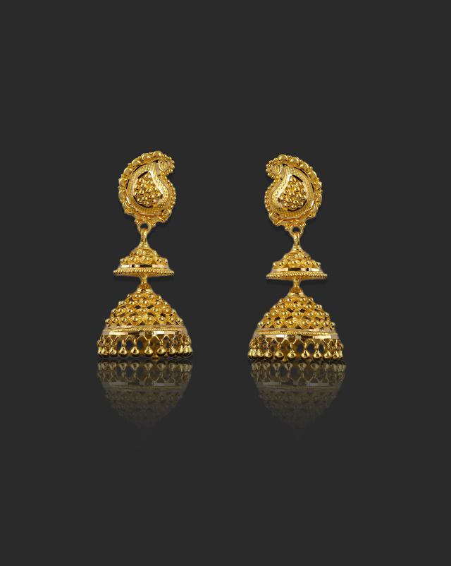 Gold Earrings 22 Karat Yellow Gold Mihika 22Kt Gold Jhumkas