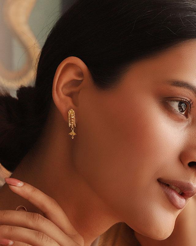 Anika 22Kt Gold Drop Earrings