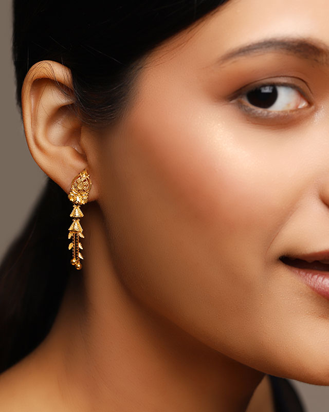 Gold Earrings 22 Karat Yellow Gold Smriti 22Kt Gold Drop Earrings