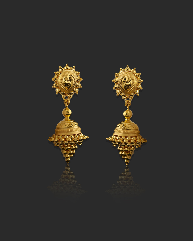 Gold Earrings 22 Karat Yellow Gold Nisha 22Kt Gold Drop Earrings
