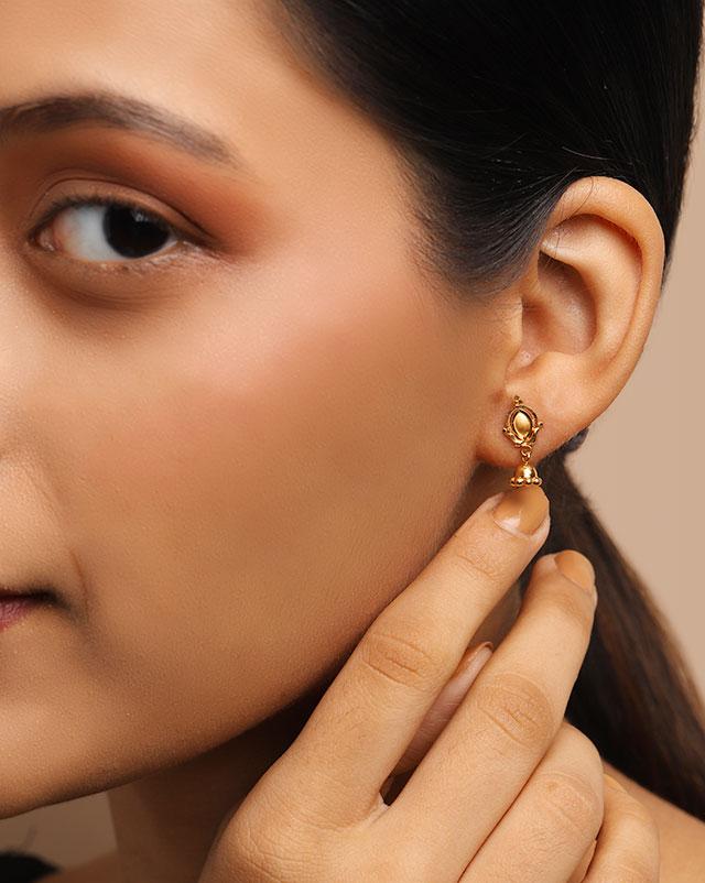 Gold Earrings 22 Karat Yellow Gold Prachi 22Kt Gold Jhumkas