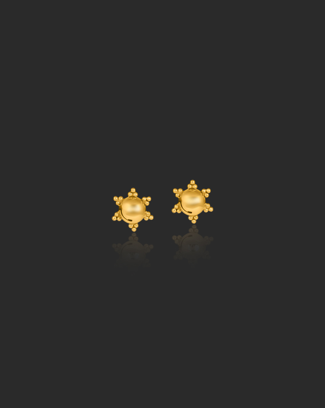Gold Earrings 22 Karat Yellow Gold Heral Beaded Gold Stud Earrings