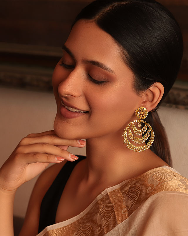 Gold Earrings 22 Karat Yellow Gold The Younger Goddess Gemstone Chaandbali