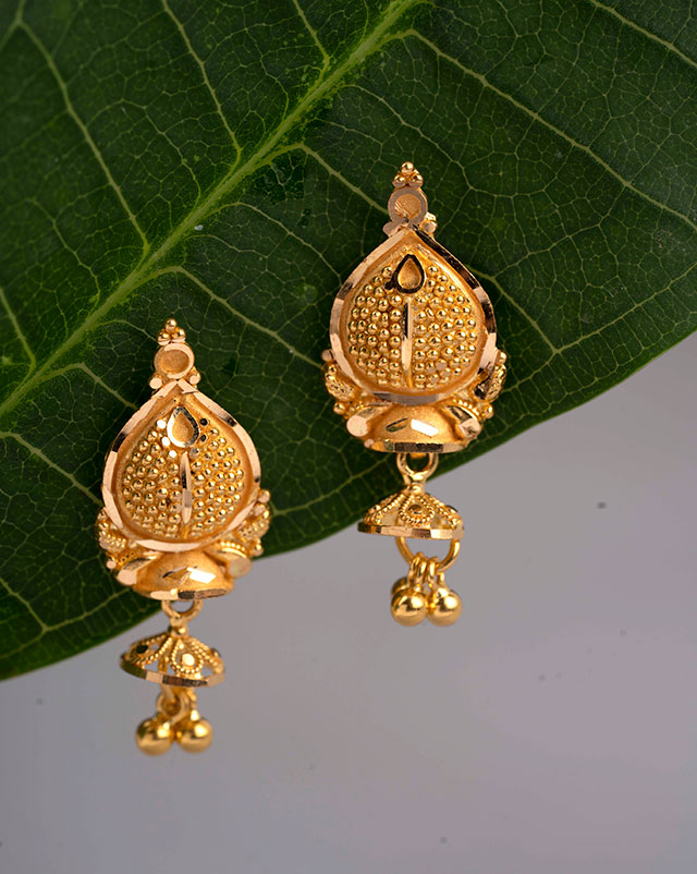 Gold Earrings 22 Karat Yellow Gold Shrishti Gold Drop Earrings