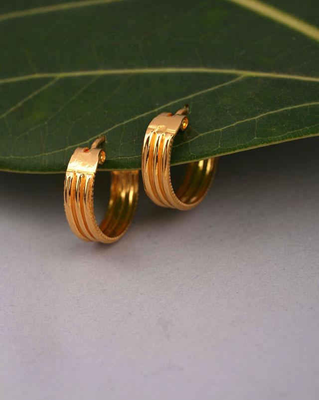 Gold Earrings 22 Karat Yellow Gold Megha Gold Hoop Earrings