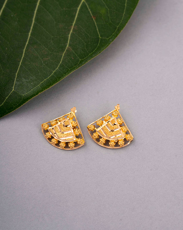Gold Earrings 22 Karat Yellow Gold Sanya Gold Stud Earrings