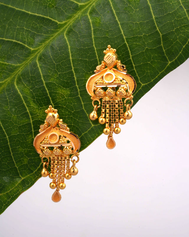 Gold Earrings 22 Karat Yellow Gold Smita Gold Drop Earrings