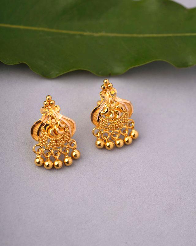 Gold Earrings 22 Karat Yellow Gold Disha Gold Stud Earrings